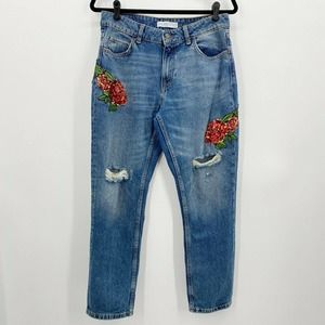 Zara Basic Z1975 Denim Rose Sequin Applique Distressed Boyfriend Jeans Sz 6 EUC